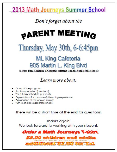 Parent Meeting | Thursday, May 30th | Math Journeys